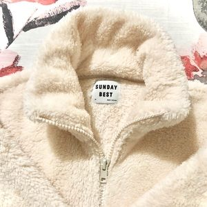 Sunday Best Mockneck Fuzzy Zip Up Jacket